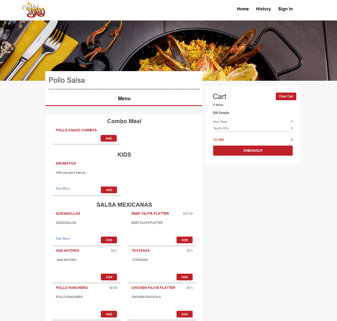 Food ordering system for restaurant website
