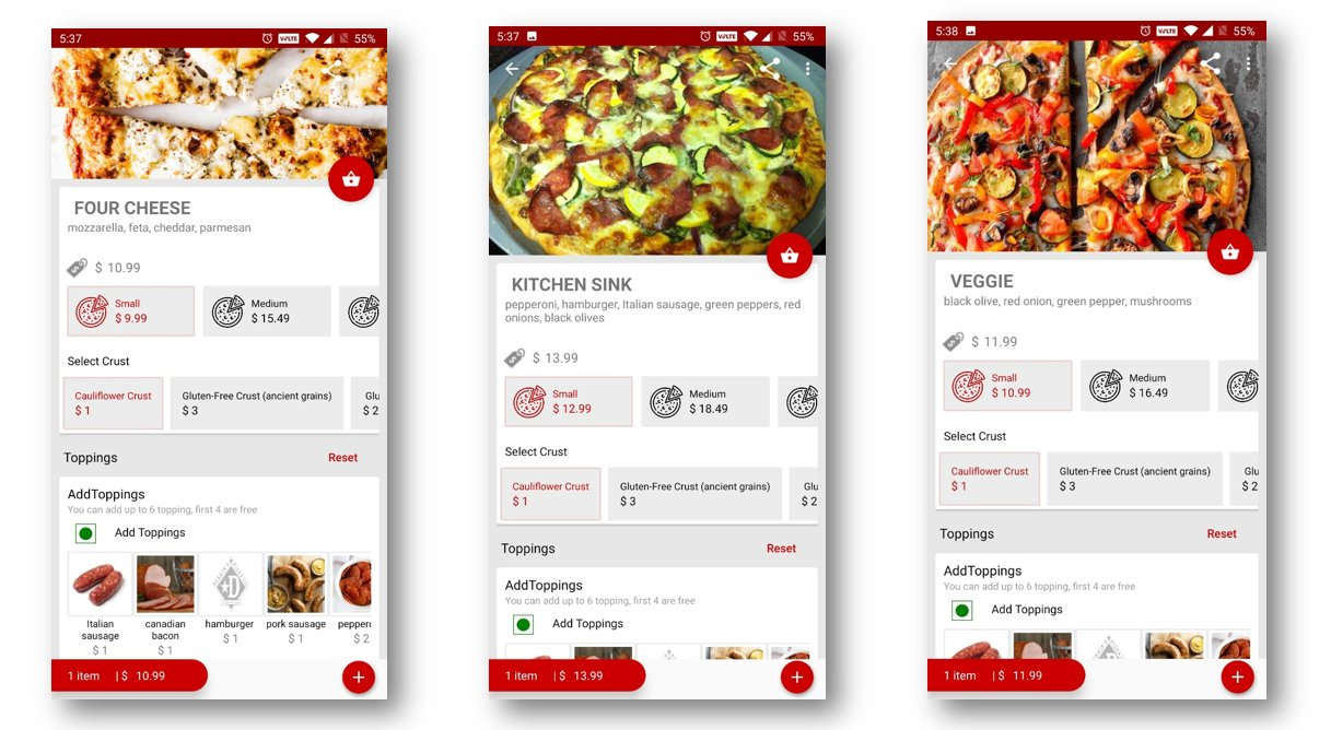 Mobile app for pizza menu